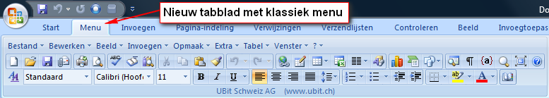 ubitmenu voorbeeld1 Klassiek menu in Office 2007 en 2010